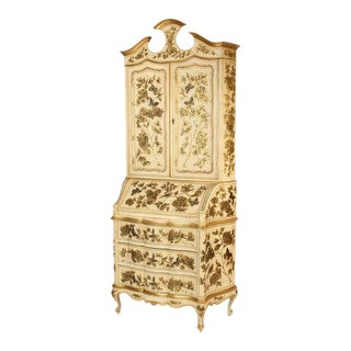1980s Venetian Painted Gilt Decorated Secretary For Sale