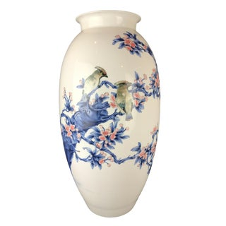 Chinoiserie Porcelain Hand-Painted Vase 23' H For Sale