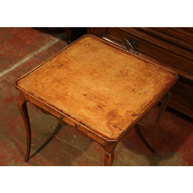 French 19th Century French Four-Drawer and Glass Holder Game Table With Leather Top For Sale - Image 3 of 10
