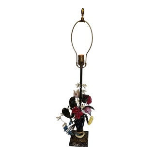 Charming Vintage Tole Lamp, a Hand Holding a Bouquet of Flowers Mounted on Marble