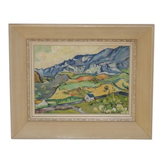Impressionist Landscape With Rolling Hills & Farm House in the Style of Paul Cezzane C.1950s For Sale