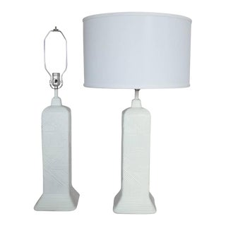 Pair of Matte White Skyscraper Styled Table Lamps For Sale