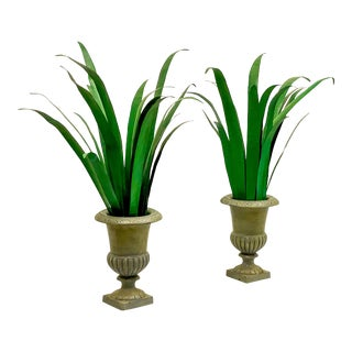Pair of Chelsea House Tole Palms in Urns For Sale
