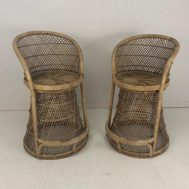 1970s Woven Rattan Wicker Barstools - a Pair For Sale - Image 5 of 8