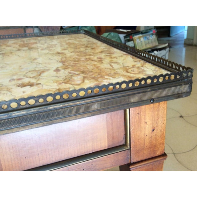 French Walnut Coffee Table With Marble Top For Sale In Miami - Image 6 of 11