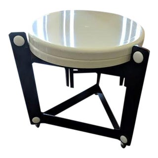 1970s Modern Luigi Massoni for Guzzini White and Black Tray Table Trolley For Sale