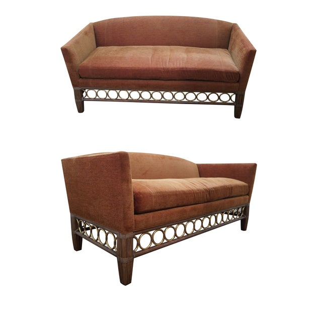 McGuire Laura Kirar Rattan Base Sofas - Pair For Sale