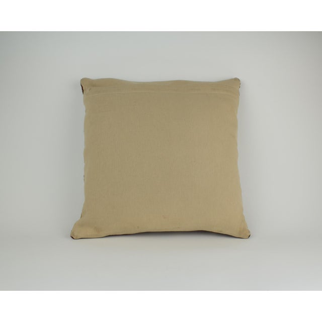 Pottery Barn Brown and Tan Wool Textile Kilim Pillow For Sale - Image 4 of 9