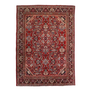 Vintage Hand Knotted Wool Persian Mahal Rug - 9′2″ × 13′ For Sale
