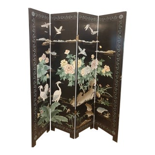 Mid 19th Century Vintage Chinoiserie Black Lacquer Room Divider For Sale