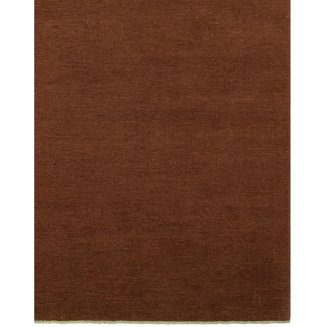 """Brown Over Dyed Color Reform Cordelia Brown Wool Rug - 9'0"""" x 11'10"""" For Sale - Image 8 of 8"""