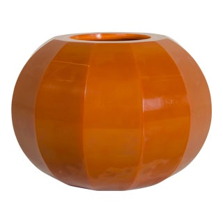 Persimmon Peking Hand Blown Glass 12 Facet Jarlet by Robert Kuo For Sale