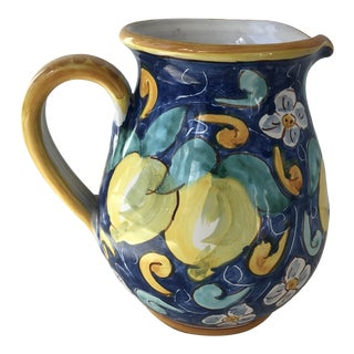 1980's Signed Caltagirone Majolica Pottery Lemon Pitcher For Sale