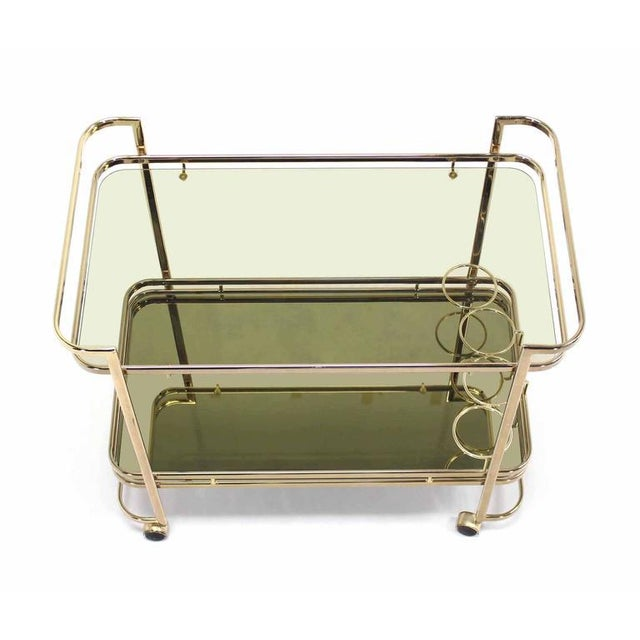 Mid-Century Modern Smoked Glass Gold or Brass Finish Tea or Bar Italian Cart For Sale - Image 3 of 8