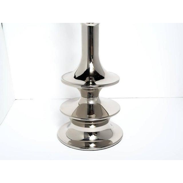 Metal Pair of Hollywood Regency Sculptural Floor Lamps in Nickel For Sale - Image 7 of 10
