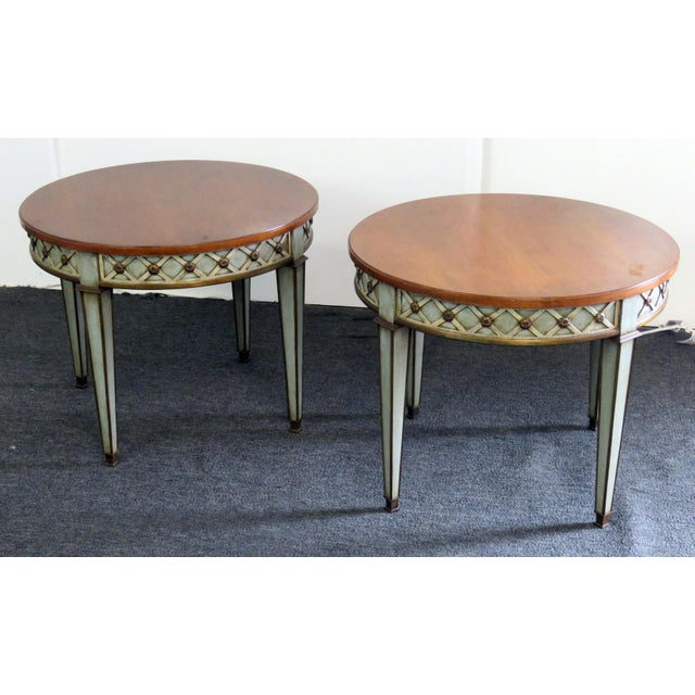 Paint Mid 20th Century Regency Style Paint Decorated Side Tables - a Pair For Sale - Image 7 of 7