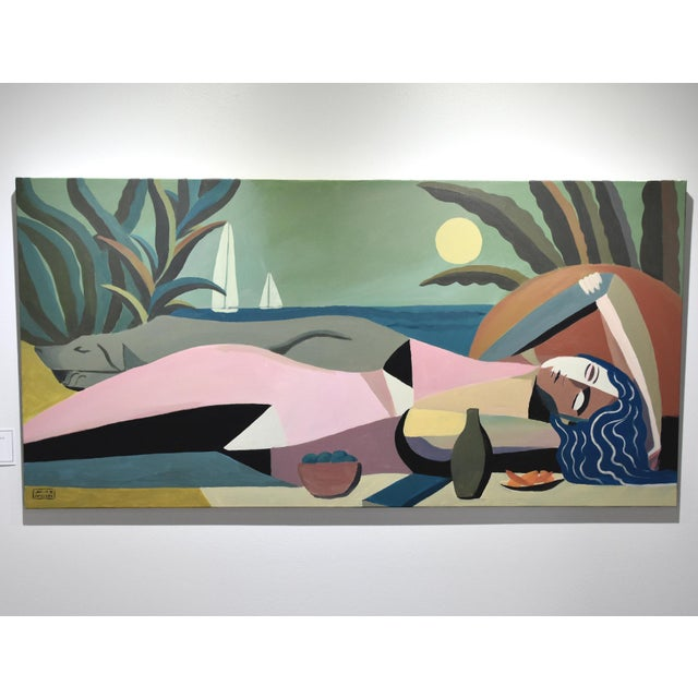 "Art Deco ""Sleeping Woman & Dog"" Art Deco Painting by Mike Willcox For Sale - Image 3 of 3"