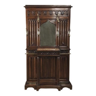 19th Century French Walnut Gothic Hall Tree For Sale