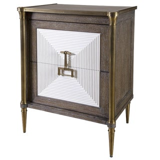 Cerused Oak and Brass Cabinet For Sale