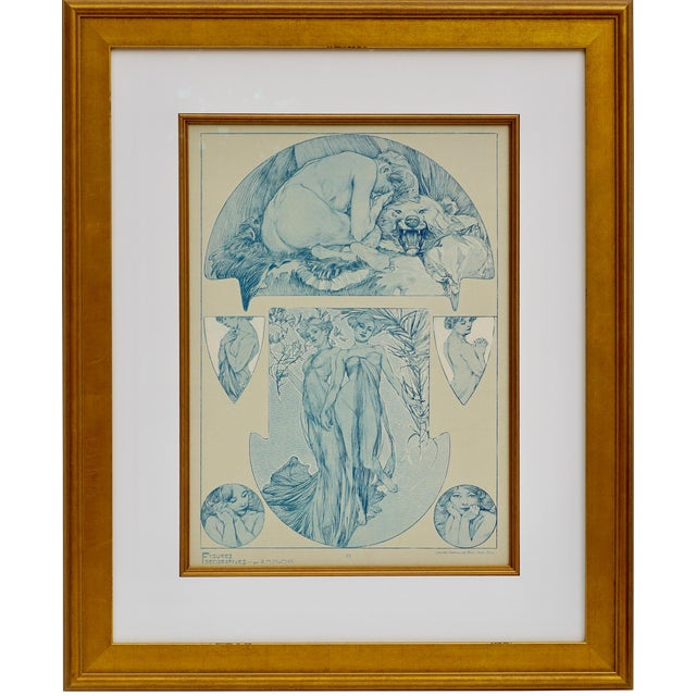1900s Vintage Alphonse Mucha Collotype Poster For Sale