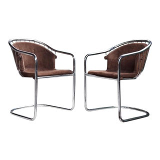 Mid Century Modern 70s Gastone Rinaldi Bent Chrome Cantilever Chairs Set - a Pair For Sale