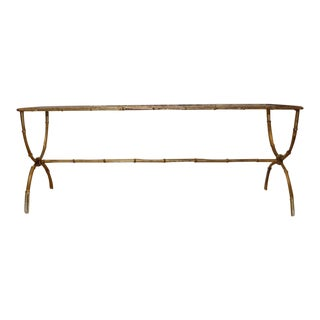 1950s Hollywood Regency Brass & Glass Rattan/Bamboo Coffee Table For Sale
