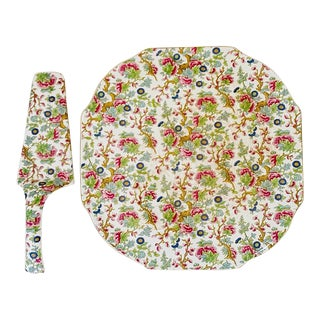 Vintage Chintz English Cake Serving Platter and Pie Knife - the Set For Sale