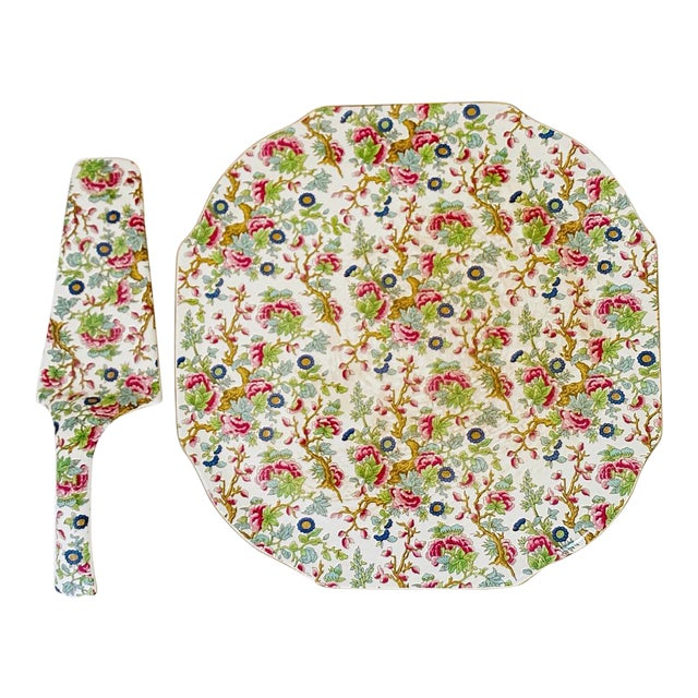Vintage Chintz English Floral Cake Serving Platter and Pie Knife - the Set For Sale