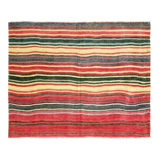 "1950s Turkish Striped Kilim - 4'4"" X 5'5"""
