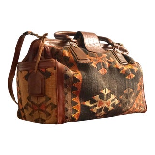 Bohemian Vintage Kilim Weekender Luggage For Sale