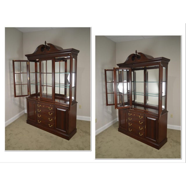 *STORE ITEM #: 18729 Lexington Chippendale Style Heirloom Solid Mahogany China Cabinet Top Buffet AGE / ORIGIN: Approx. 20...