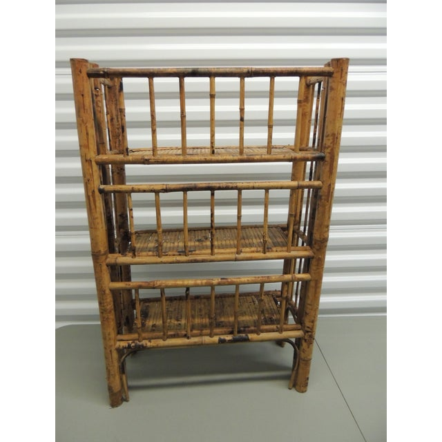 Antique English Country Faux Bamboo Folding Etagere - Image 5 of 6