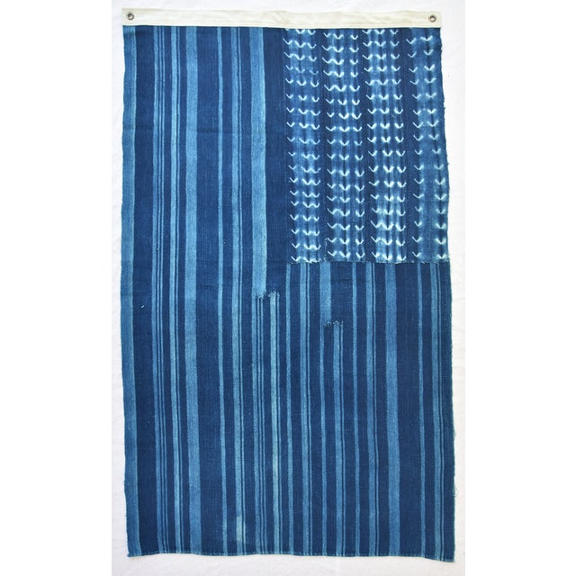 """58"""" X 34"""" Custom Tailored Blue & White Flag From African Textiles - Image 3 of 8"""
