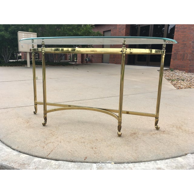 Hollywood Regency Mid-Century Labarge Brass & Glass Demi-Lune Console Table For Sale - Image 3 of 13