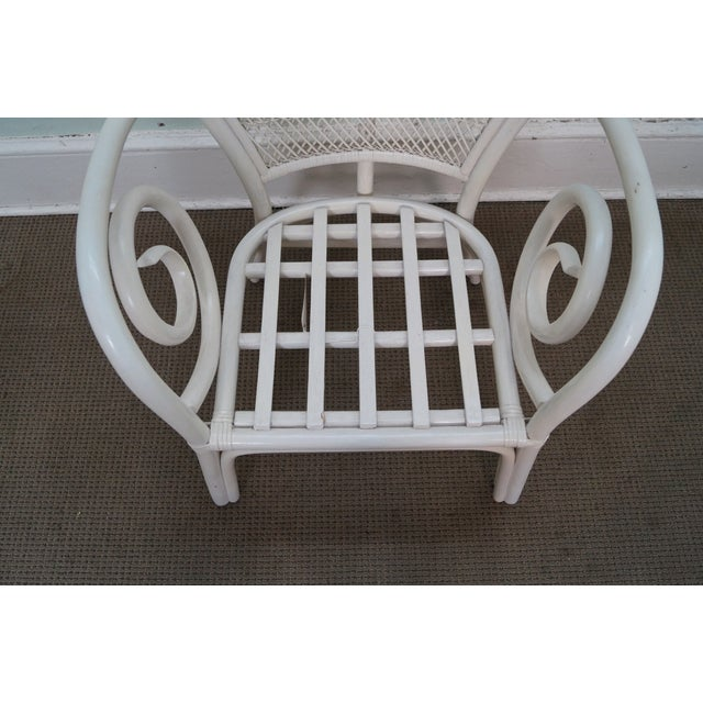 Surfside Casual Painted Rattan Fan Back Armchair For Sale In Philadelphia - Image 6 of 10