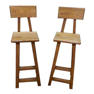 Quality Pair of Solid Elm Wood Rustic Bar Stools For Sale