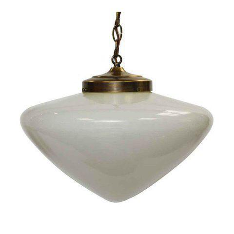Mid Century school house light from the 1960s. Pictured with newly wired brass chain and fitter. The dimensions are of the...