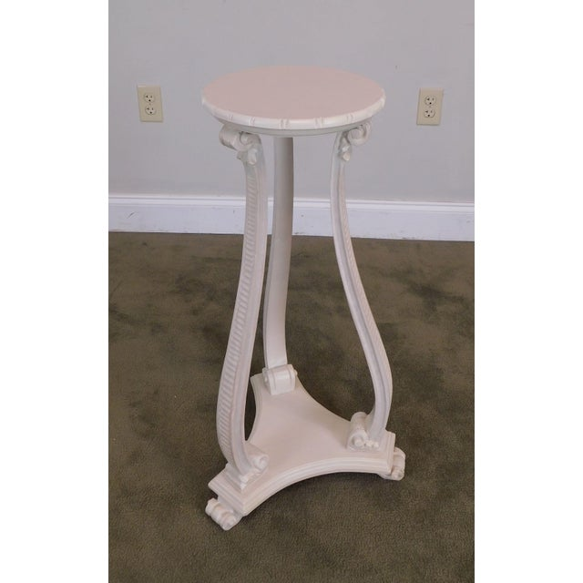 Hollywood Regency Vintage Pair White Washed Lacquer Italian Pedestals For Sale - Image 4 of 12