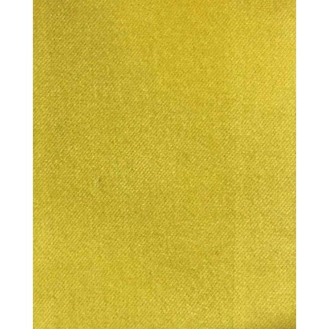 Art Deco 1970s Yellow Cotton Velvet Sculptural Bench For Sale - Image 3 of 4