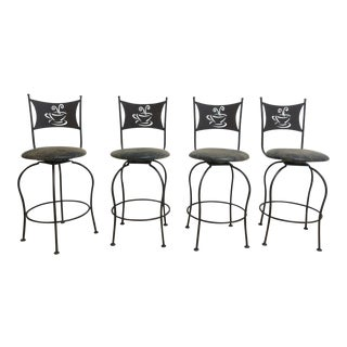 Scrolled Metal Coffee House Counter Bar Dining Room Stools - Set of 4 For Sale