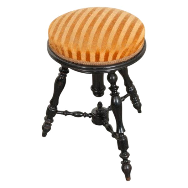 French 19th Century Jacobean-Style Ebonized and Spool-Turned Piano Stool For Sale