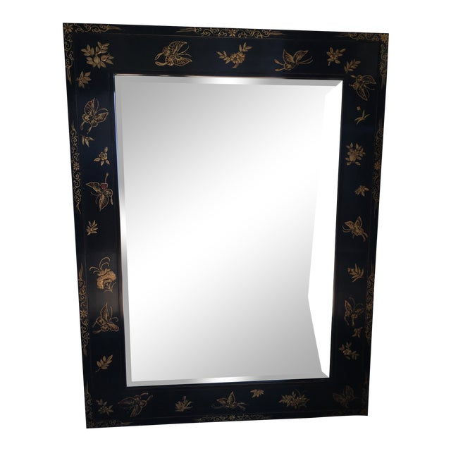 Chinoiserie Wal Mirror Decorated With Butterflies For Sale