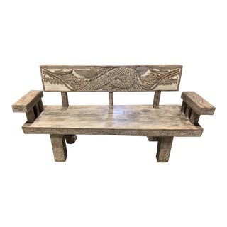 Balinese Hand-Carved Timor Wood Bench For Sale