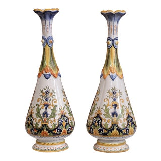 Large Pair of 19th Century French Hand Painted Ceramic Vases From Rouen