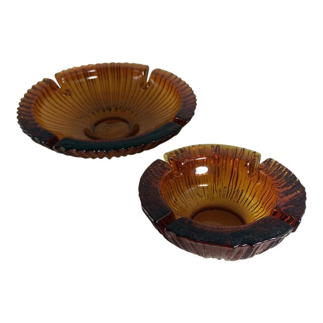 Mid Century BLENKO Amber Ashtrays - Pair - Image 1 of 9
