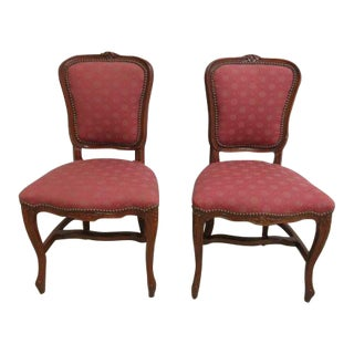 Antique French Regency Carved Side Chairs - A Pair