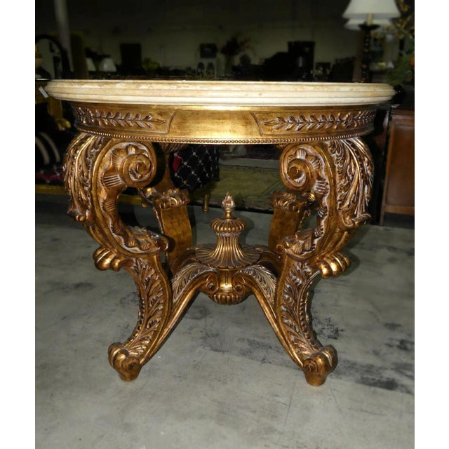 2000 - 2009 Ornately Carved Gilt Wood Rococo Center Table Base For Sale - Image 5 of 11