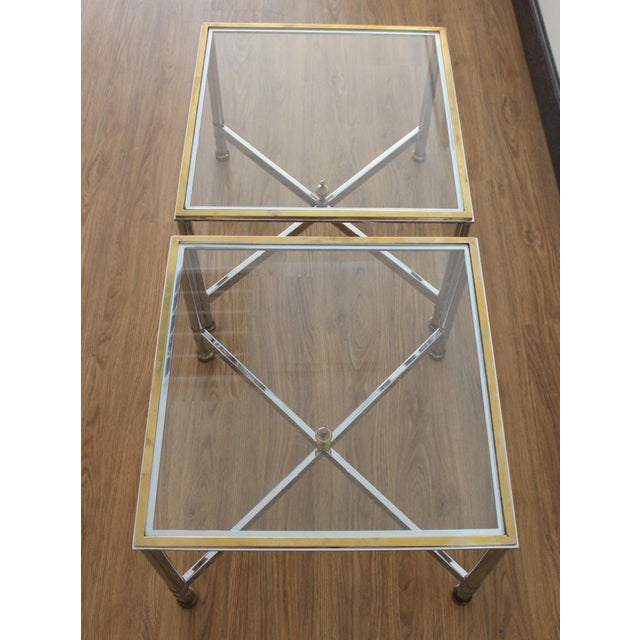 Vintage French Brass, Chrome & Glass Side Tables - A Pair For Sale - Image 5 of 5