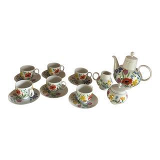 Demitasse Tea Set Heinrich China Primavera Pattern - 15 Pieces For Sale