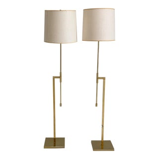 Vintage Laurel Brass Floor Lamps Designed by Harold Weiss and Richard Barr - a Pair For Sale